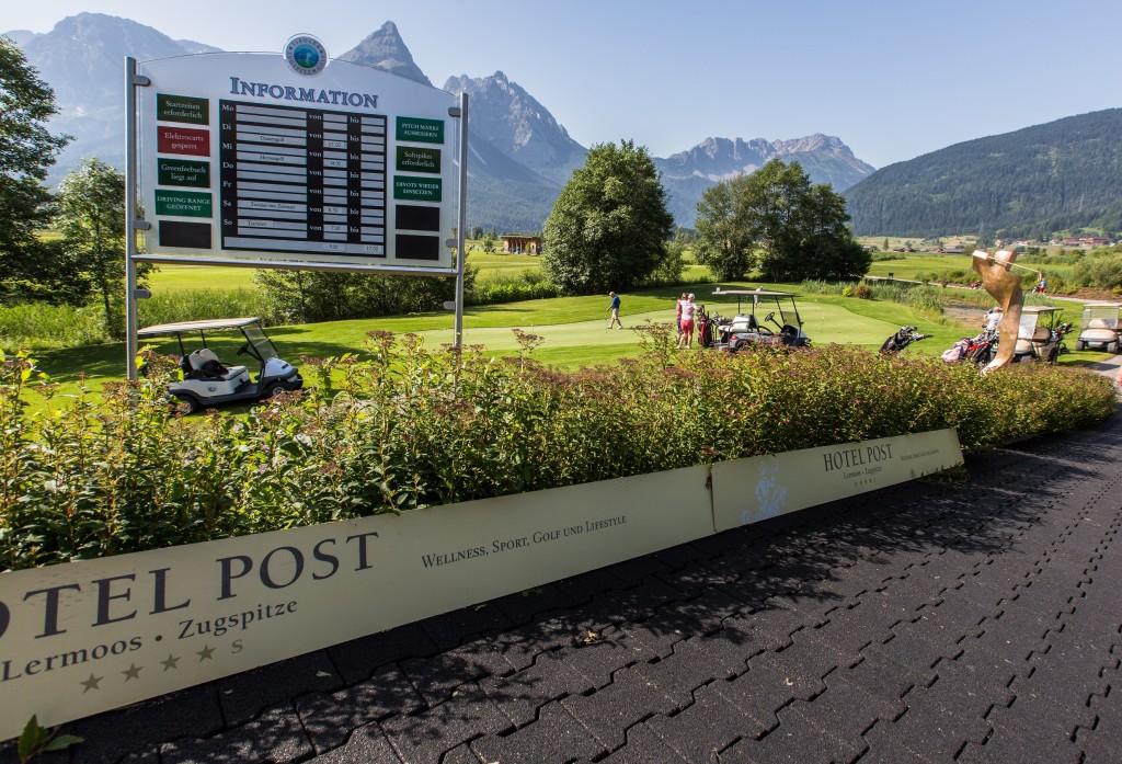 Golfplatz Tiroler Zugspitze Clubhaus, Blick zur Sonnenspitze